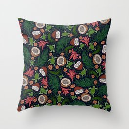 Tropical: Sea Turtles and Coconut Pattern Throw Pillow