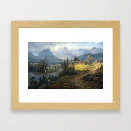 Johan Christian Dahl View of Øylo Farm, Valdres Framed Art Print
