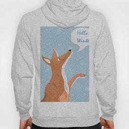 "Orange Fox Catching Snowflakes and saying ""Hello Winter"" Hoody"