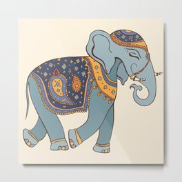 Hand Drawn illustration. Elephant. Indian style. Metal Print
