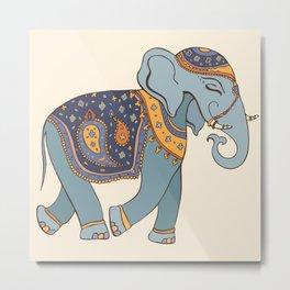 Hand Drawn illustration. Elephant. Indian style. Metal Print