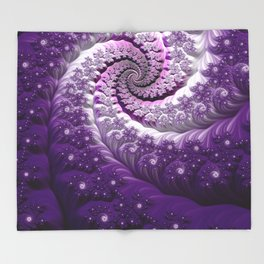 Beautiful Bloom of Lilacs Lavender Fractal Spiral Throw Blanket