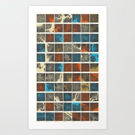 World Cities Maps Art Print