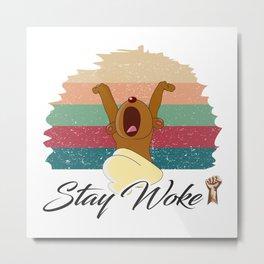 Stay Woke Tees: bear yawn and sleep Vintage retro Metal Print