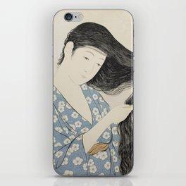 Hashiguchi Goyo: Woman Combing Her Hair Japanese Woodblock Print Blue Floral Kimono Black Hair iPhone Skin