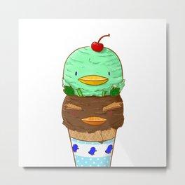 Penguin Ice Cream Metal Print