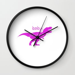 Family Dino girl children funny gift Wall Clock