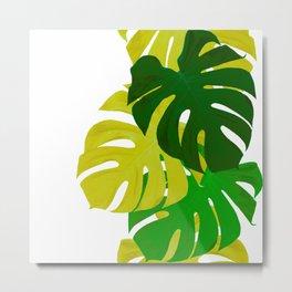 Green Monstera Leaves White Background #decor #society6 #buyart Metal Print