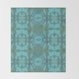 Evergreen and Aqua Nouveau Pattern Throw Blanket