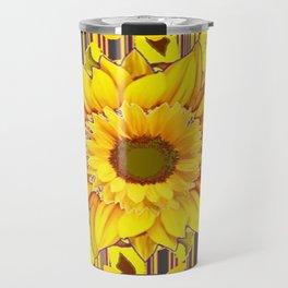 YELLOW BUTTERFLIES SUNFLOWER  CHARCOAL GREY Travel Mug