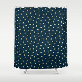 Gold Dots Pattern Navy Night Sky Shower Curtain