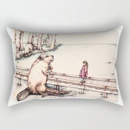 The Girl & The Beaver (or, Is It Alright if I Take Notes?) Rectangular Pillow