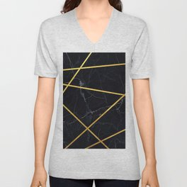 Black marble with gold lines Unisex V-Neck