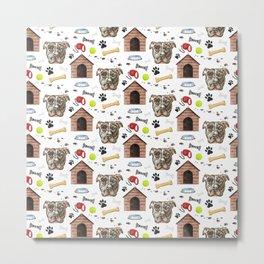 American Pit Bull Dog Half Drop Repeat Pattern Metal Print