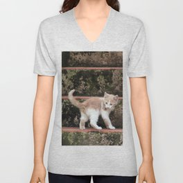 Cute Kitten Playing on the Stairs Unisex V-Neck