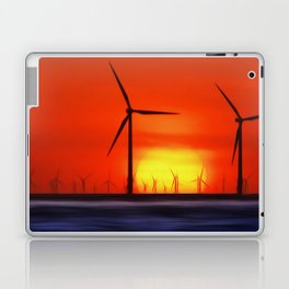 Wind Farms in the Sunset (Digital Art) Laptop & iPad Skin
