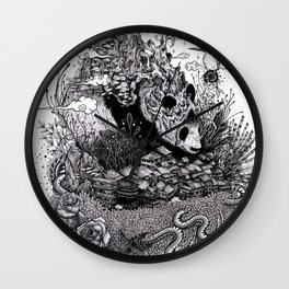 Land of the Sleeping Giant (ink drawing) Wall Clock