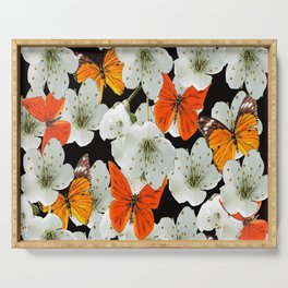 Cherry flowers and colorful butterflies on a black background Serving Tray