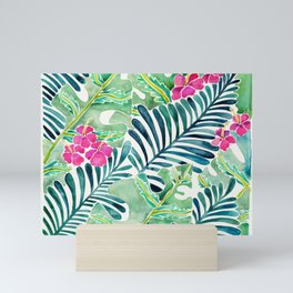 Lush Tropical Fronds & Hibiscus Mini Art Print