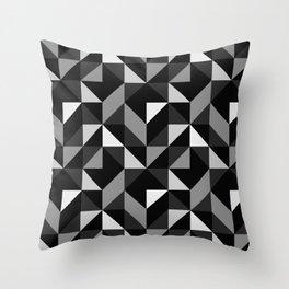 Mid Century Modern Half Square Triangles Black Gray Throw Pillow