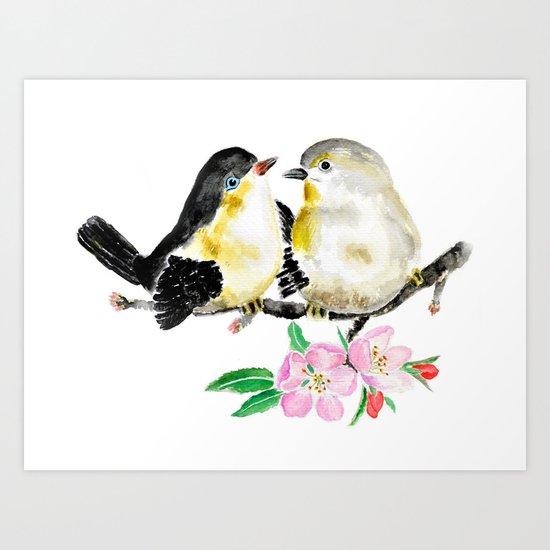 birds and apple flower blossom Art Print