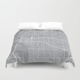 Tulsa Map, Oklahoma USA - Pewter Duvet Cover
