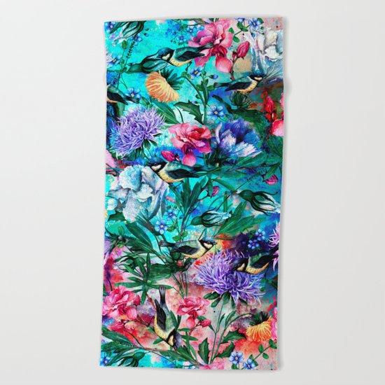 RPE Seamless Floral & Birds IV Beach Towel
