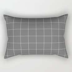 Grey and White Grid Rectangular Pillow