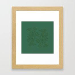 Floral Ink - Emerald & Olive Ranunculus Framed Art Print