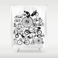 bicycles Shower Curtains featuring Bicycles by Ewan Arnolda