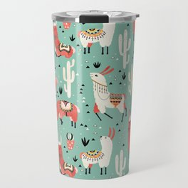 Llamas and cactus in a pot on green Travel Mug