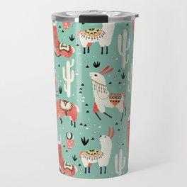Llamas and cactus in a pot on green Travel Mug