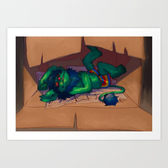 Sleeping Bum Art Print