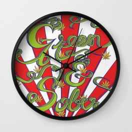 Green & Sober Wall Clock