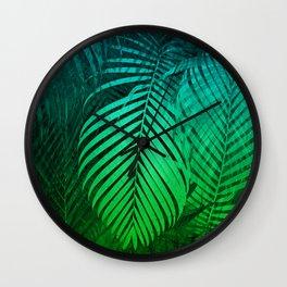 TROPICAL GREEN BLUE LEAVES Wall Clock