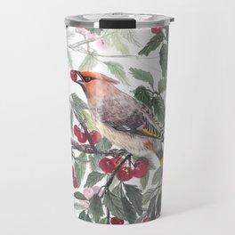 Waxwing bird loves cherry Travel Mug