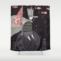 yetiland Shower Curtains featuring Five Hundred Million Little Bells (3) by Judith Clay