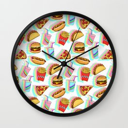 Rainbow Fast Food Wall Clock