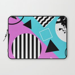 Stripes And Splats 1 - Wacky, Random, Abstract, Black And White Stripes, Blue and pink Artwork Laptop Sleeve