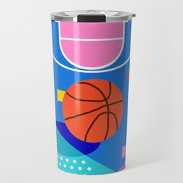 Shot Caller - memphis retro basketball sports athletic art design neon throwback 80s style Travel Mug