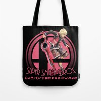 smash bros Tote Bags featuring Shulk - Super Smash Bros. by Donkey Inferno