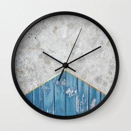 Concrete Arrow Blue Wood #347 Wall Clock