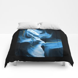 Gold Blue Antelope Canyon Comforters