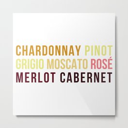 Wine Typography Spectrum Metal Print