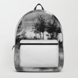Watercolor Landscape on Water (Black and White) Backpack