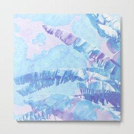 Banana Jungle - Blue & Pink Metal Print