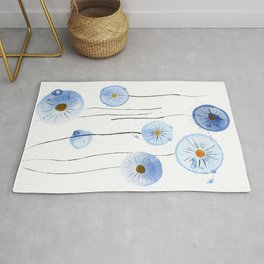 blue abstract dandelion 2 Rug