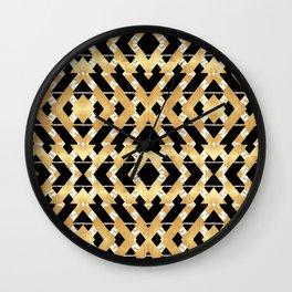 Gold Foil and Black Art Deco Chevron Wall Clock