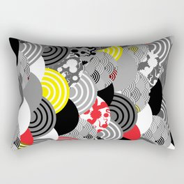 Nature background with japanese sakura flower, Cherry, wave circle Black gray white Red Yellow Rectangular Pillow