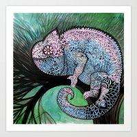 chameleon Art Prints featuring Chameleon by oxana zaika